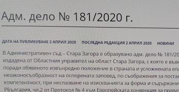 АС-Стара Загора: Няма основание за отмяна на заповедта за вечерен час